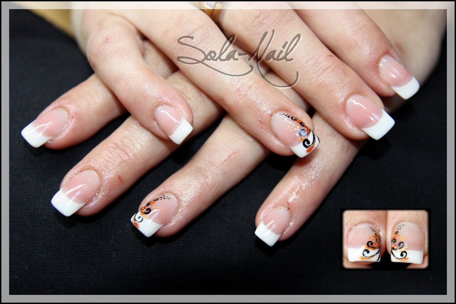 Proth sie ongulaire sur ongles rong s construction gel french et nail art style oriental - Ongle gel french ...