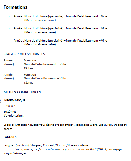 exemple cv stage bafa