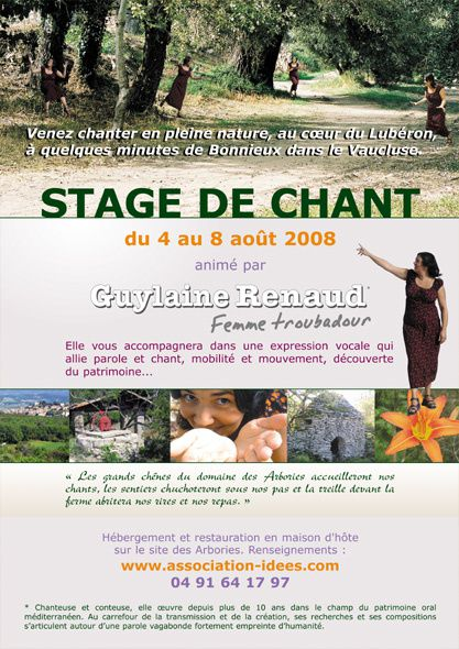 Flyer Stage de chant