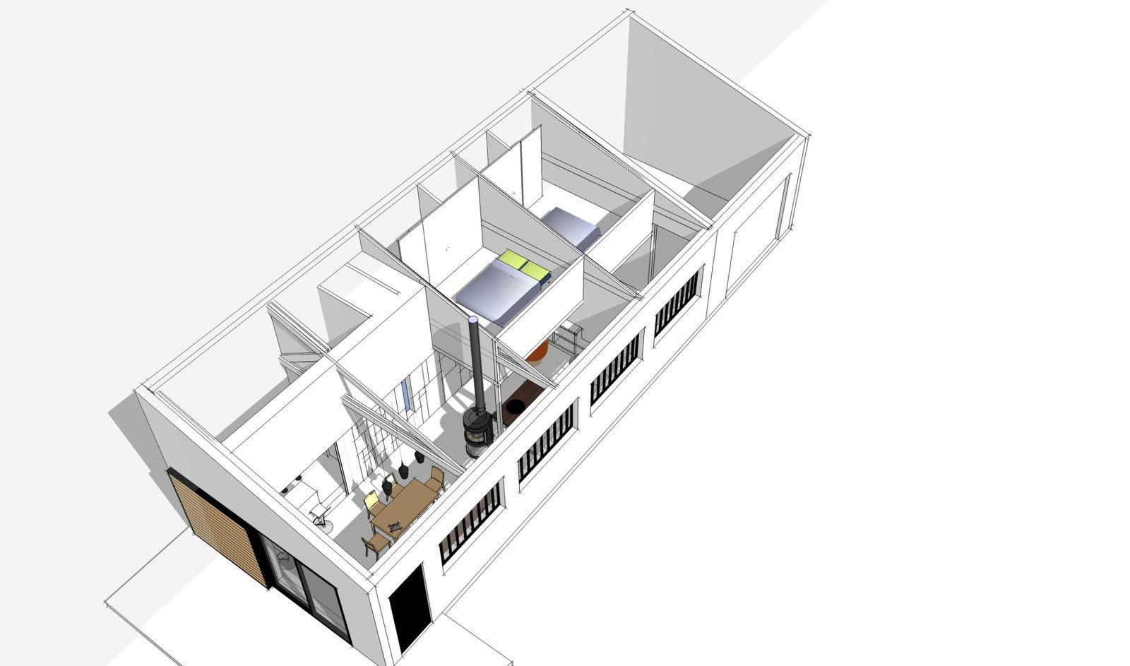 Premi re esquisse du projet r novation d 39 une maison du - Idee plan maison en longueur ...