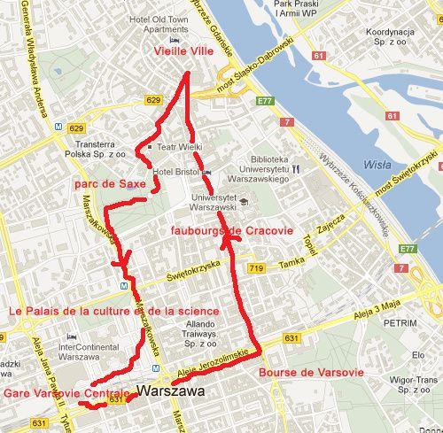 Carte Promenade Varsovie