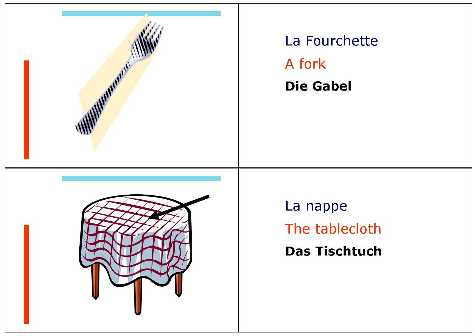 Mettre la table vocabulaire en fran ais anglais et - Debarrasser la table en anglais ...