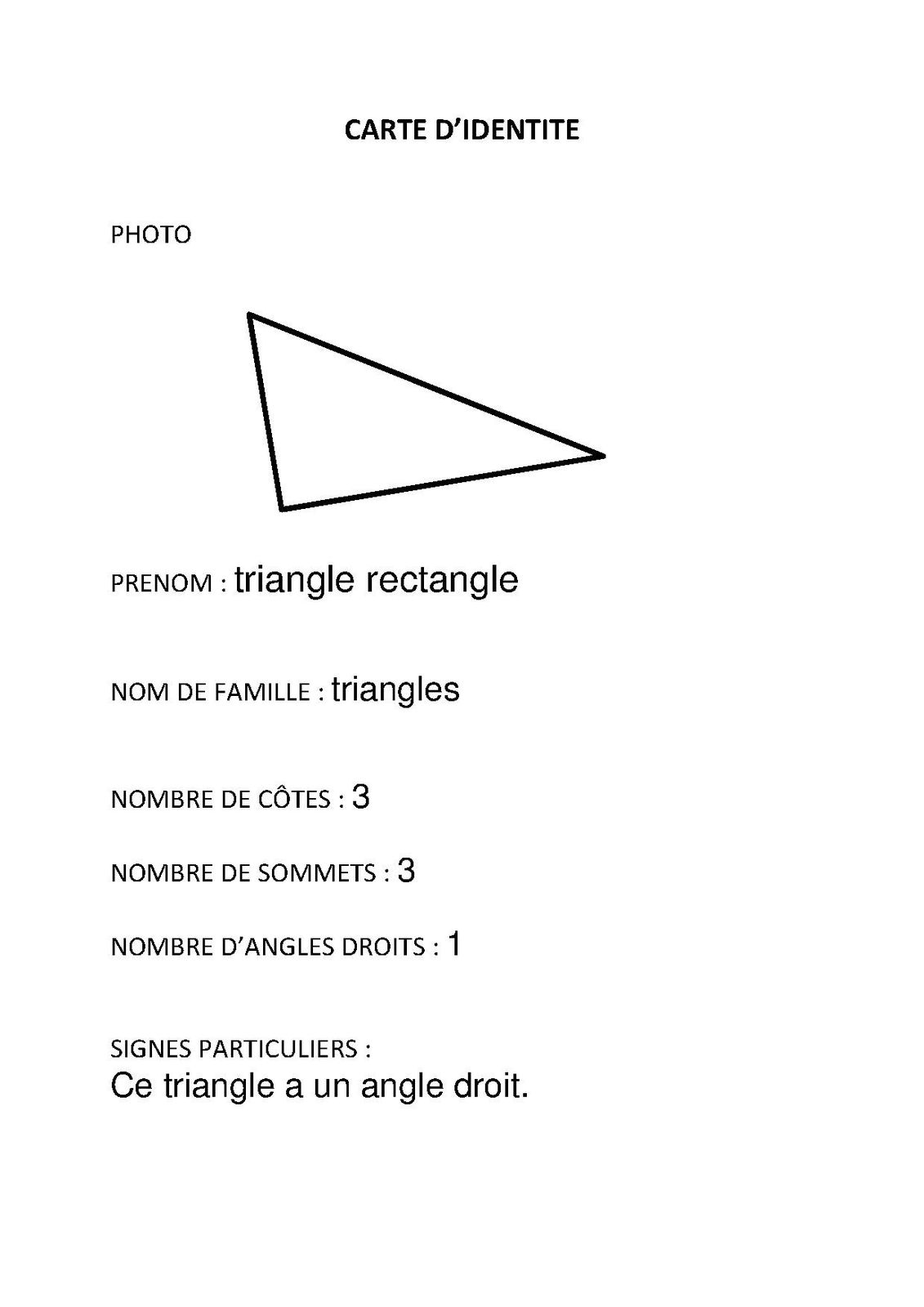 carte d'identité triangle rectangle