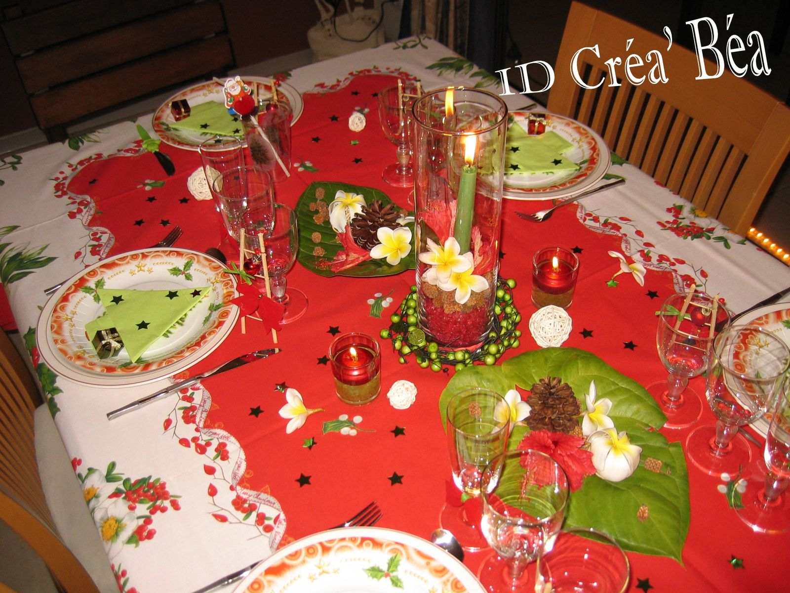 Deco table noel rouge vert blanc - Decoration de table de noel ...