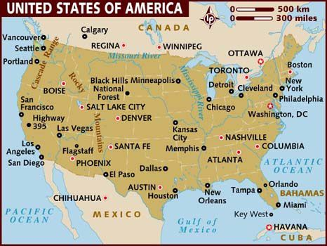 map of usa cities