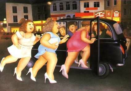 Beryl Cook Girls in a Taxi