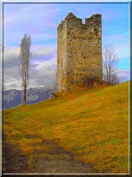 La tour médiévale dresse ses dernières pierres fièrement.