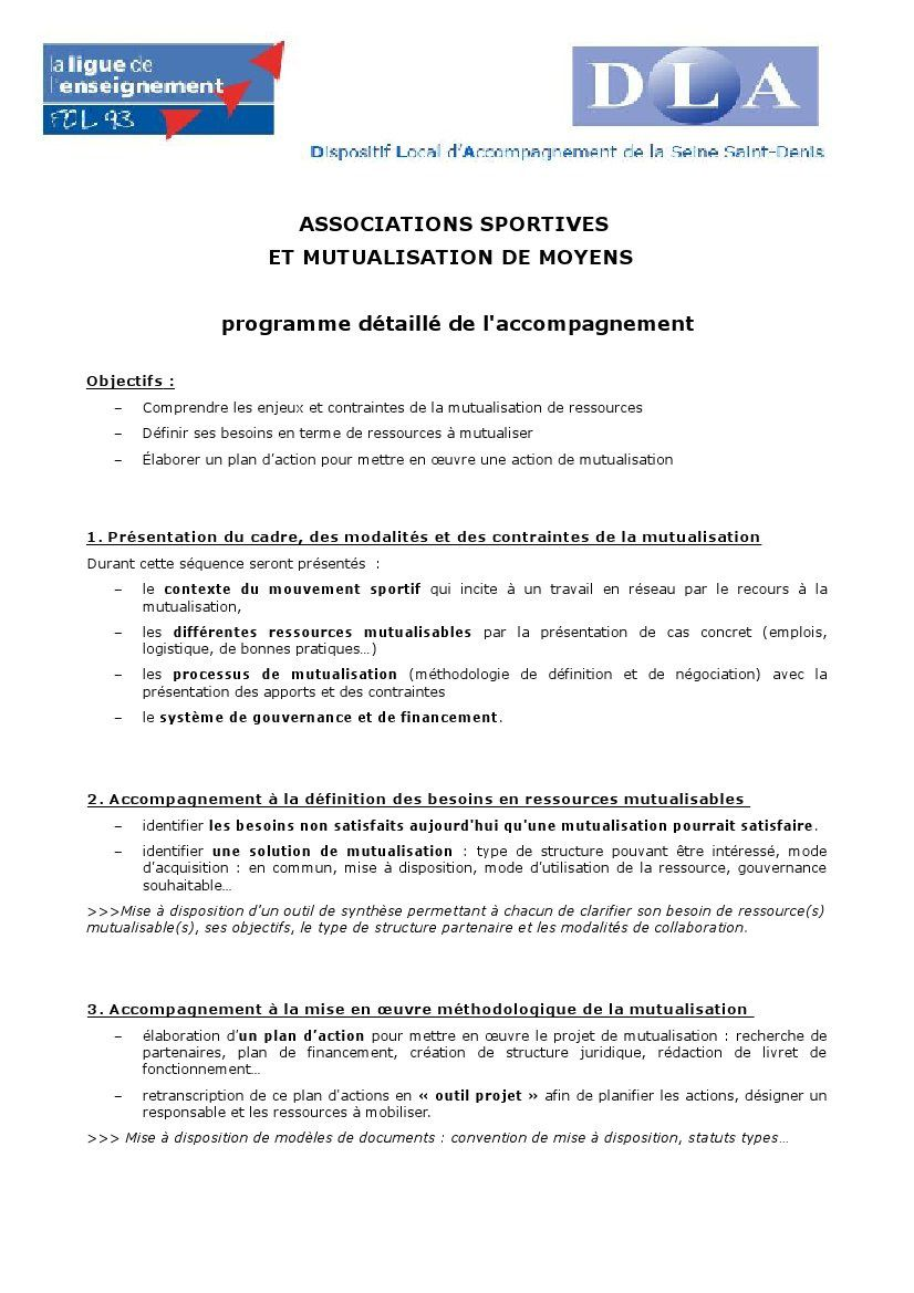 Programme collectif SPORT mutualisation