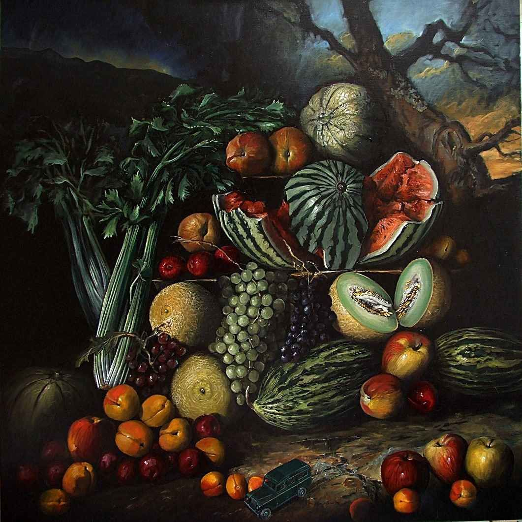 Après l'orage, nature morte de fruits huile sur-copie-2