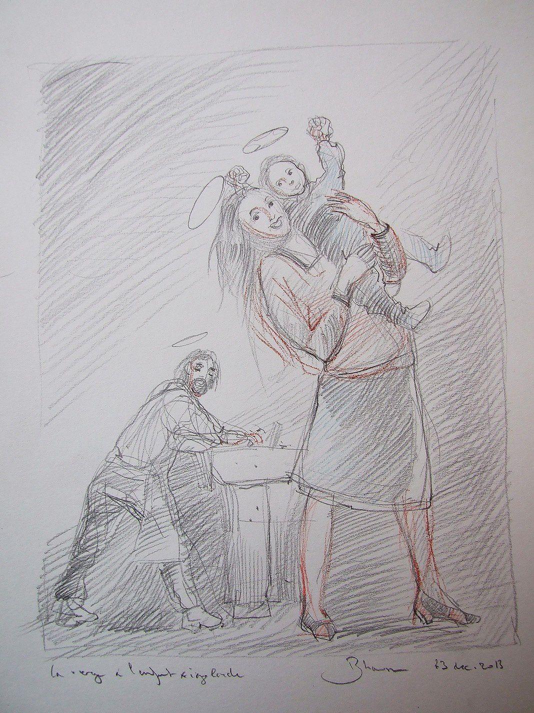 Pour une vierge à l'enfant riante! crayon 21X30 2013 (5)