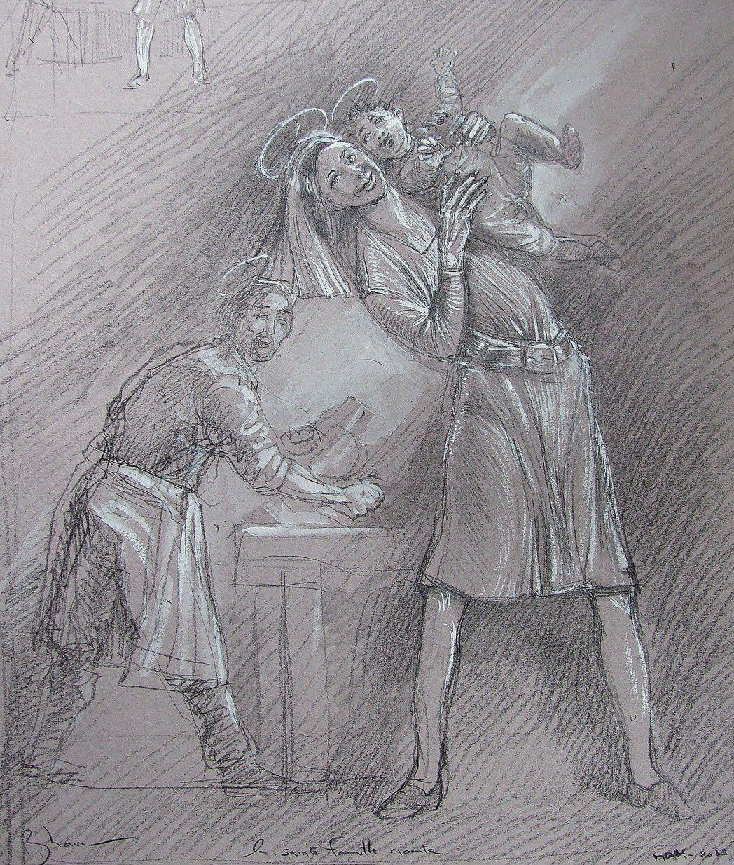 Pour une vierge à l'enfant riante! crayon 32X50 2013 (2)