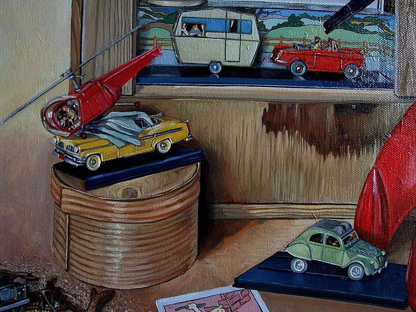 L'affaire Tournesol huile sur toile tableau 81X6-copie-6