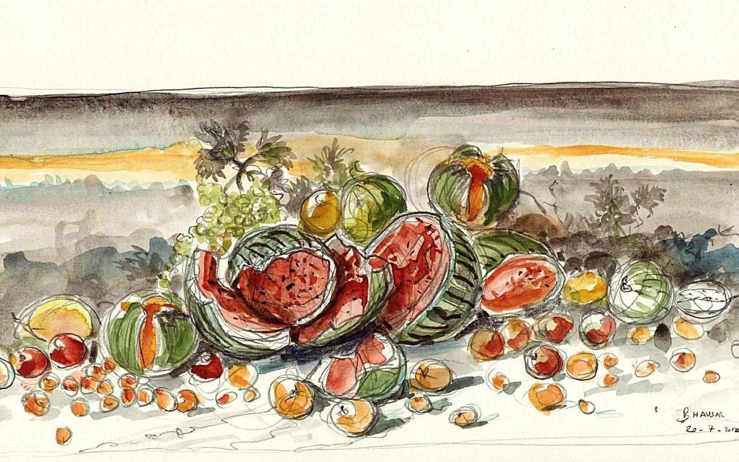 Dessin pastèques et melons éclatés 21X30 aquar-copie-1