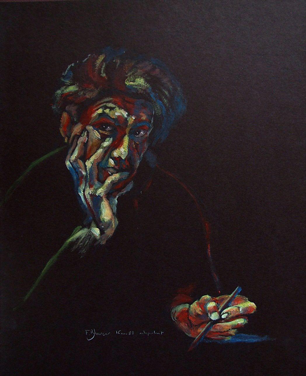 Autoportrait du peintre acrylique sur carton 1983
