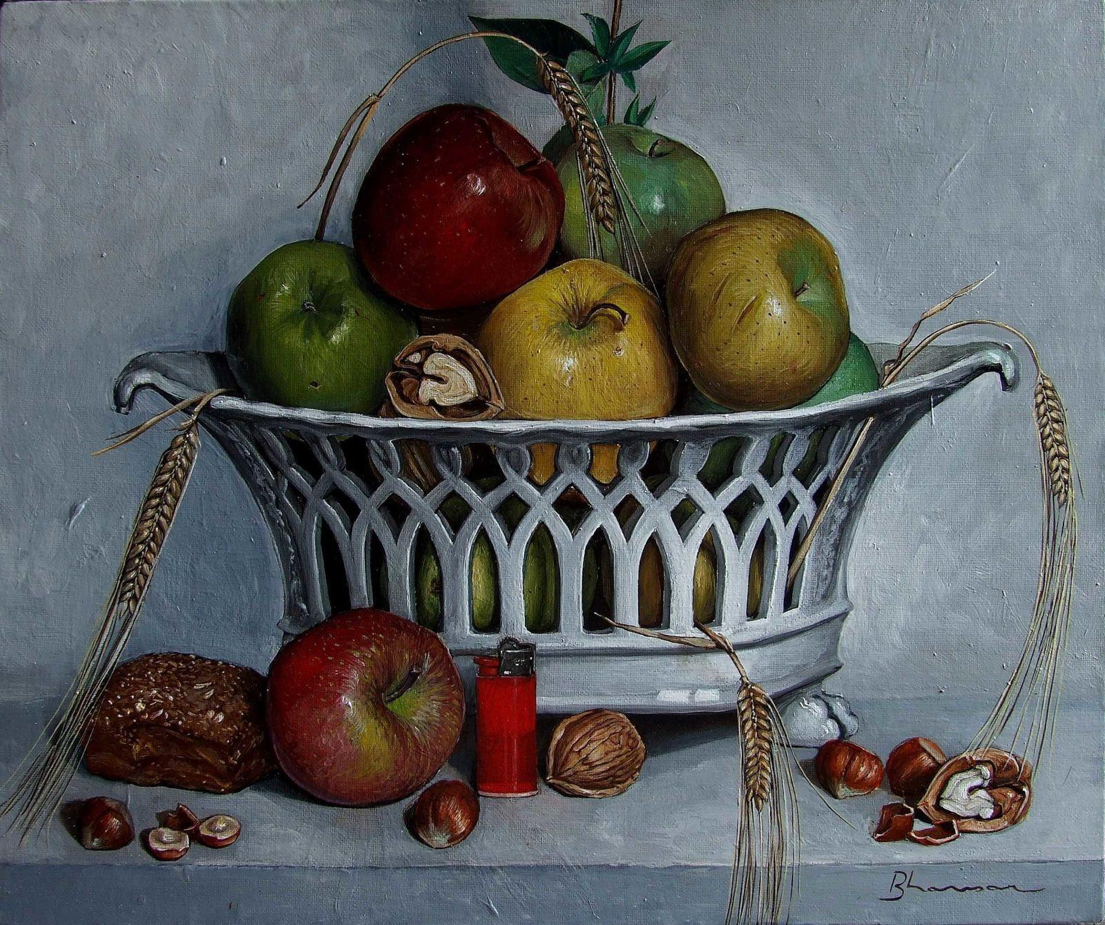 Pommes et épis de blé 38x46 Huile sur toile 8 6 11 Etat