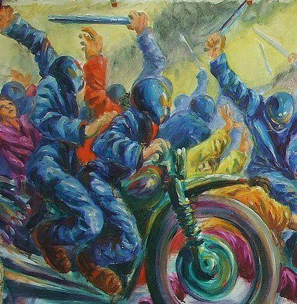La charge des motos - détail Huile sur toile 70x200 - Copi