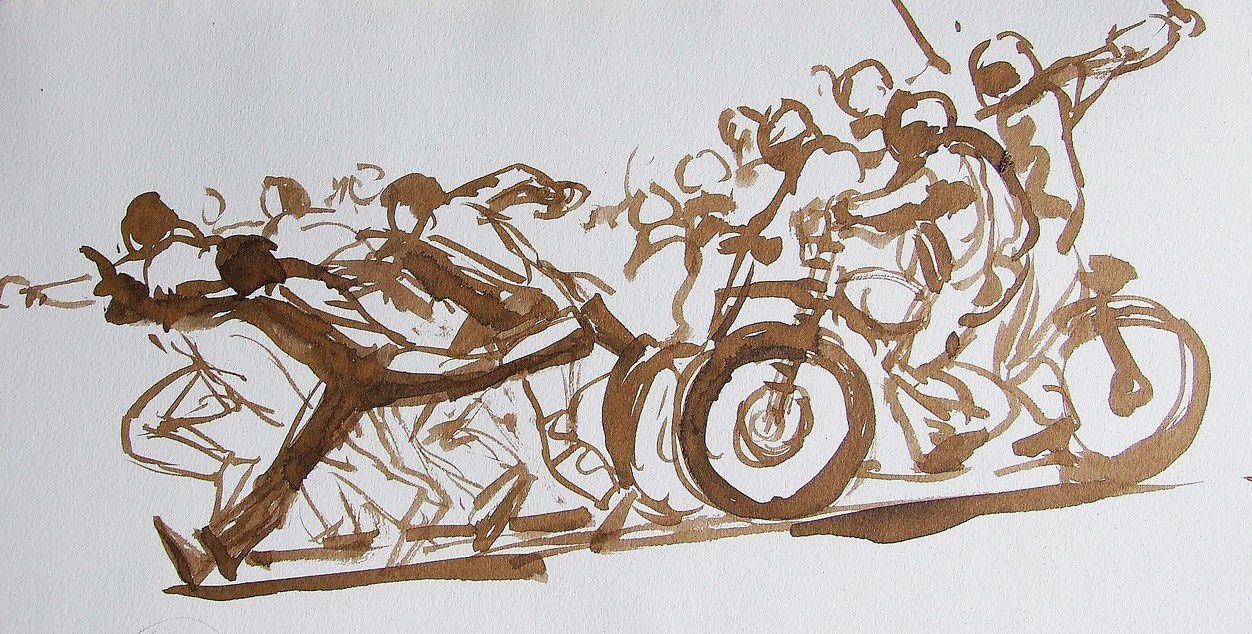 La charge des motos 3 Encre sépia 22x32 (3)