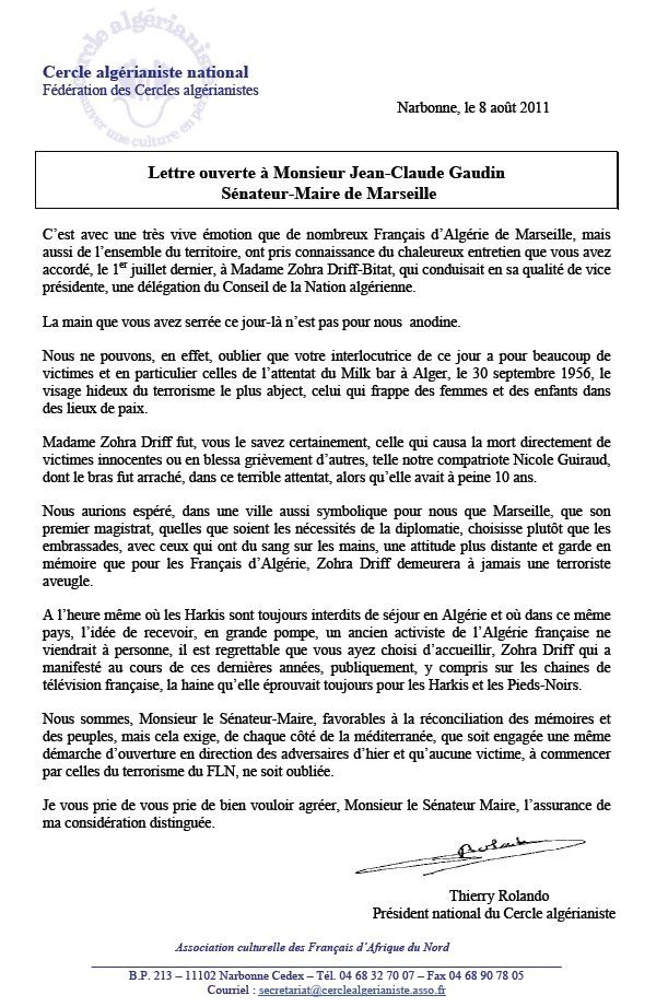 lettre a Gaudin
