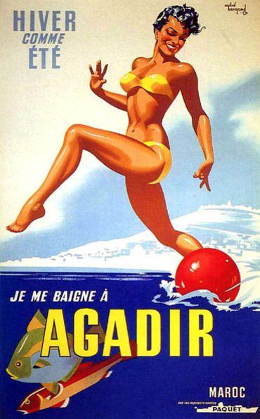 maroc-reproduction ancienne affiche-agadir.