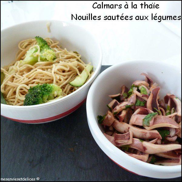 calmars thaïe nouilles sautées légumes