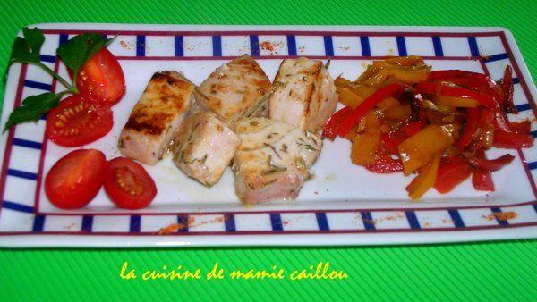 Blog de mariecaillou :LA CUISINE DE MAMIE CAILLOU, Dés d'espadon au citron et aux herbes de provence.
