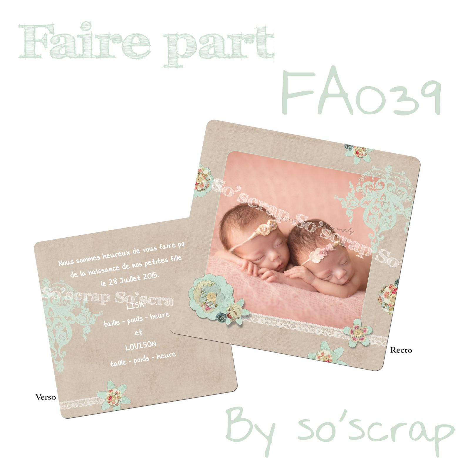 faire part naissance  création originale, unique scrapbooking digital baptême fille et rose à pois bleu, vert, orange, marron, chocolat, saumon À rayure princesse,ange  étoiles scintillantes unique et original  100% personnalisable