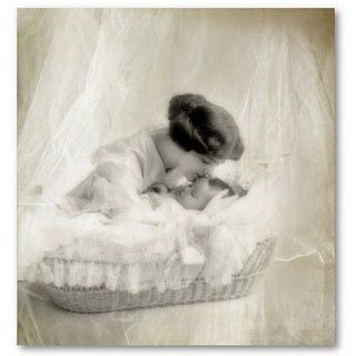 vintage mother kissing baby in bassinet poster-p22817203206