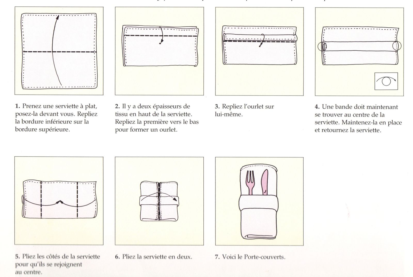 Pliage Serviette Porte Couvert Simple l'art de plier les serviettes/°/°/° -