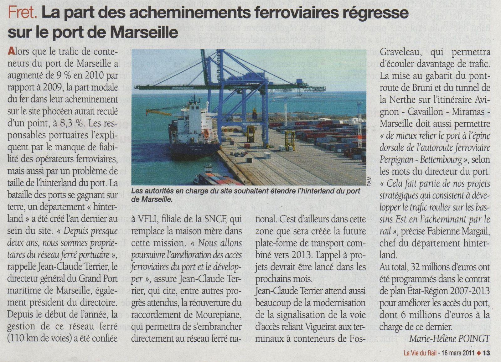 La part du fret ferroviaire régresse sur le port LVR 16 II