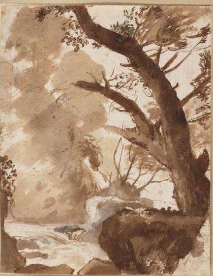 le lorrain-arbre et rochers près d'un ruisseau-lavis-Musé