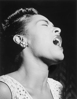 Portrait of Billie Holiday in Down Beat magazine. | Source division
