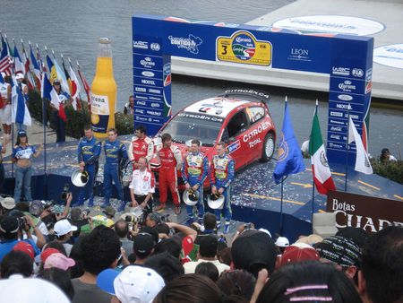 The winner's podium at the 2008 Rally Mexico. In the center are rally