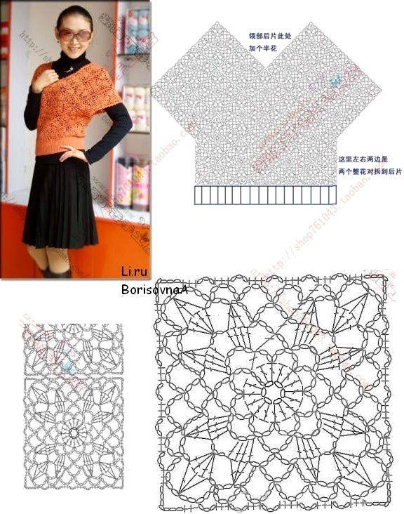 tunque orange aux motifs carrés....